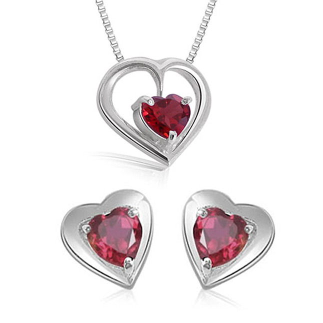 Heart Shape Red Garnet Pendant & Earring Set with Silver finished Chain for Girls (SDS115)