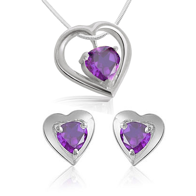 Heart Shaped Amethyst Earrings & Pendant with Chains -Gemstone Set