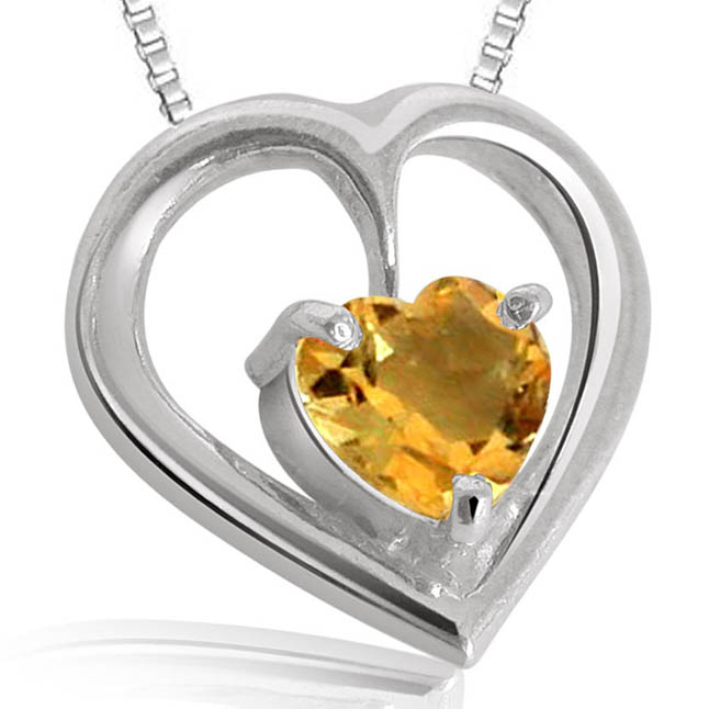 Heart Shaped Topaz Pendants with Chains -Gemstone Pendants