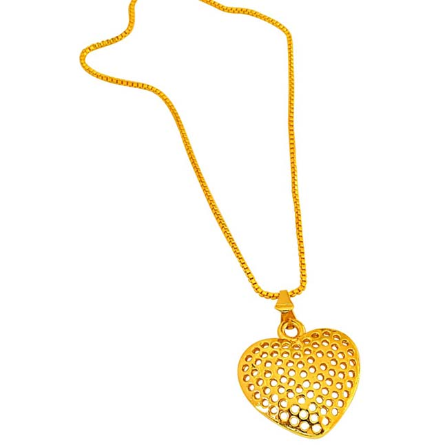 Heart Shaped Jali Style Gold Plated Pendants with 22 IN Chain for Your Love