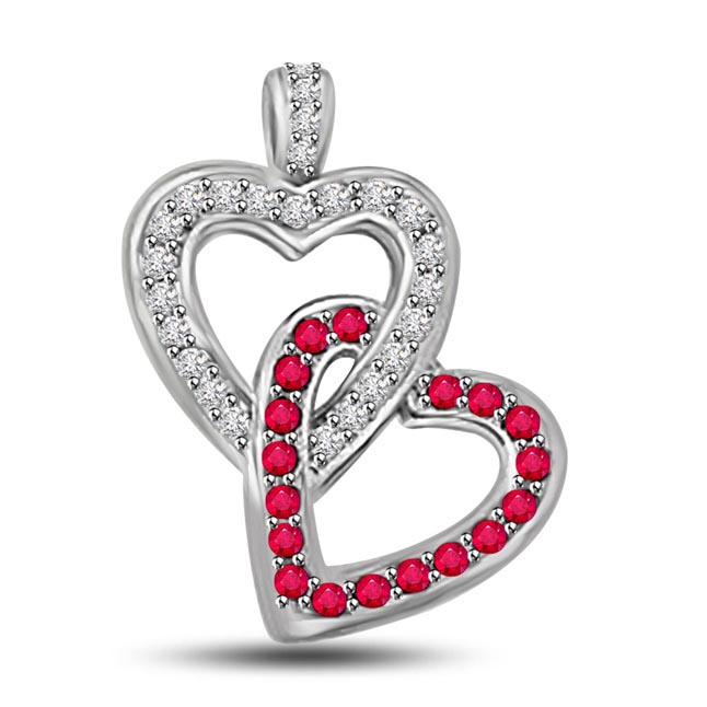 Heart to Heart Fine Heart Shaped Pendants Of Diamonds Rubies