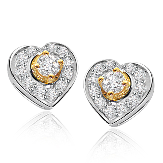 Hearts Surprise Diamond Earrings -Heart Shape Earrings
