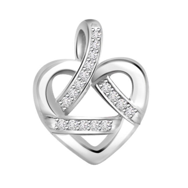 Hearty Secrets 0.09ct Diamond White Gold Pendants