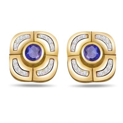 Heavenly Beauty 0.16ct Fine Sapphire & Diamond Earrings -Dia & Gemstone