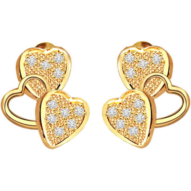 Heavenly Triseme 0.40 ct Heart Shape Diamond Earrings -Heart Shape Earrings