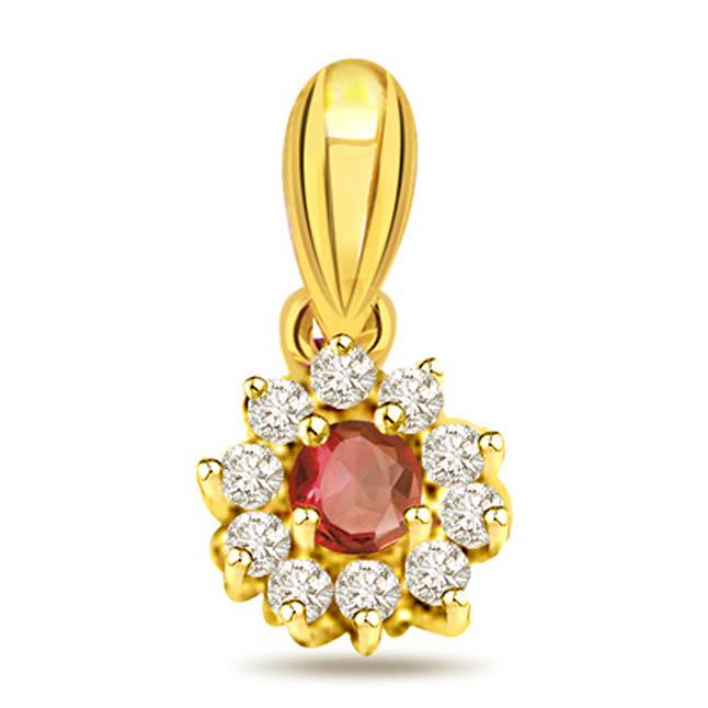 Buy diamond ruby pendants online at best price surat diamond her highness diamond ruby aloadofball Image collections