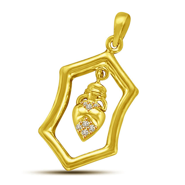 Hexagonal Shaped Diamond & 18KT Gold Pendants for My Love -Designer Pendants