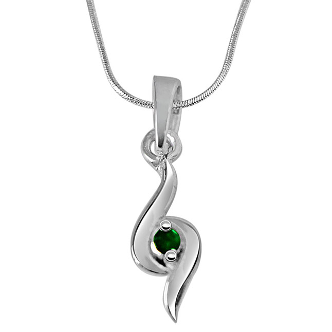 Hold Me Tight - Real Emerald Pendant in 925 Sterling Silver with 18 IN Chain