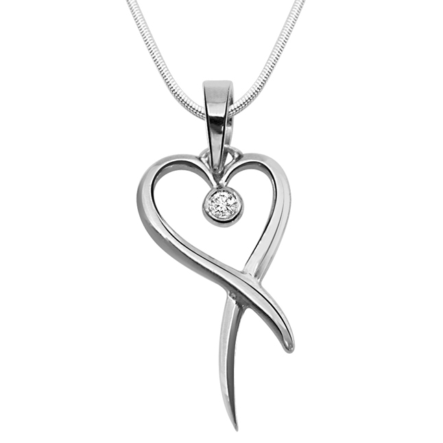 Holder of Love - Real Diamond & Sterling Silver Pendant with 18 IN Chain