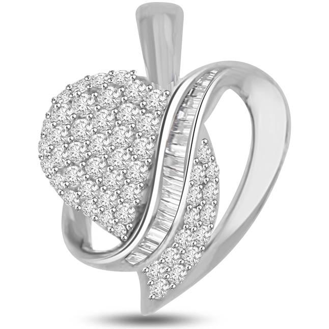 I am Addicted to You White Gold Diamond Heart Pendants