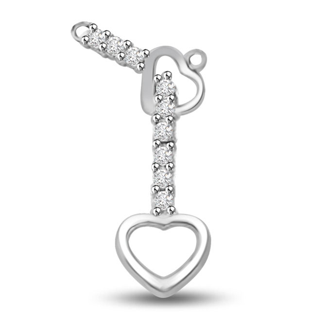 I Follow You 14kt White Gold Diamond Heart Pendants