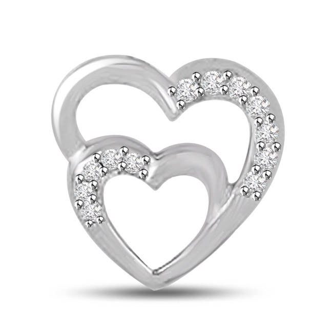 I Get High with You White Gold Diamond Heart Pendants