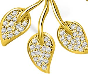 I Love My Life Gold & Diamond 3 Leaves Pendants Necklaces