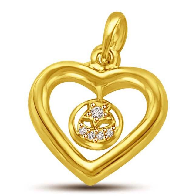 In Love Again -0.06 cts Heart Shape Diamond Pendants