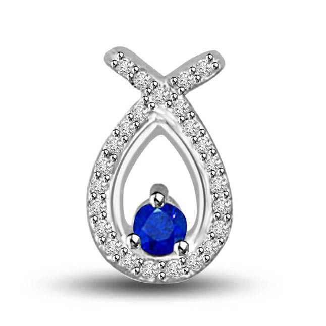 In My Arms:Diamond & Sapphire White Gold Fancy Pendants For Your Love