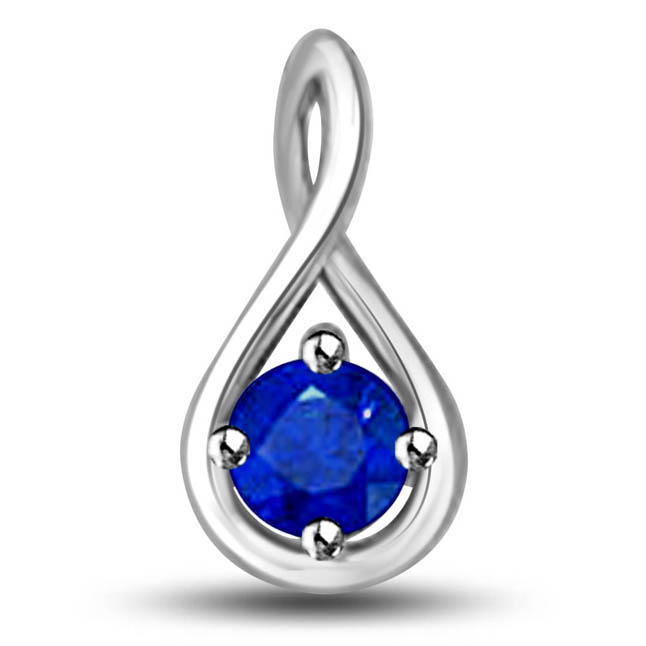 In My Arms:Solitiare Blue Round Sapphire Set In 14kt White Gold Pendants -Teenage