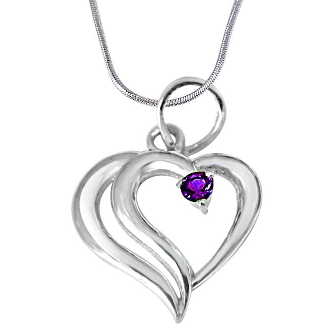 "In PAIR -adise Heart Shaped Purple Amethyst & 925 Sterling Silver Pendants with 18"" Chain"