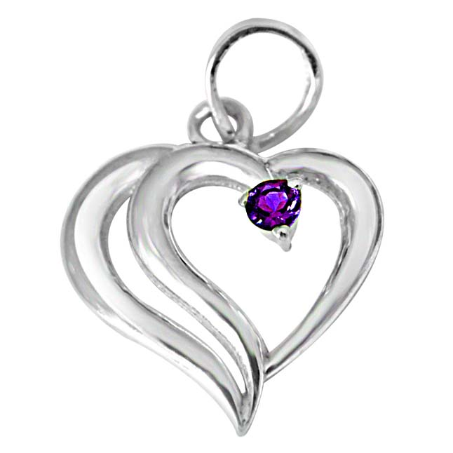 In PAIR-adise Heart Shaped Purple Amethyst & 925 Sterling Silver Pendant with 18 IN Chain
