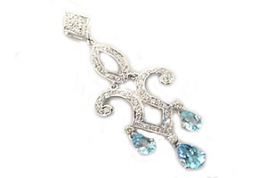 Incredible Beauty Diamond & Blue Topaz Pendants -White Rhodium Pendants