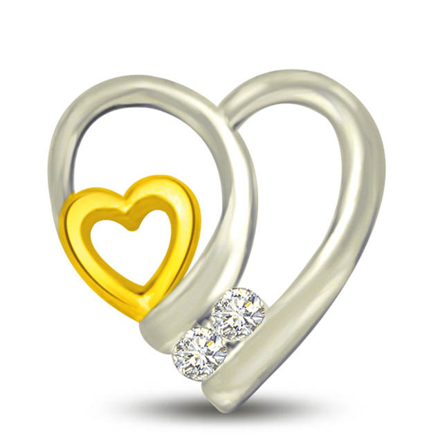 Interlocked Heart 0.03 cts Heart Shape Diamond Pendants