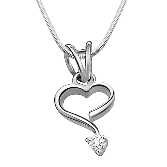 "Intricate Love -Real Diamond & Sterling Silver Pendants with 18"" Chain"