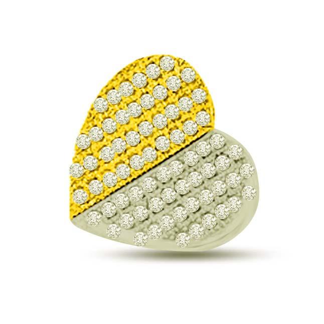 Irresistible love two tone diamond heart Pendants