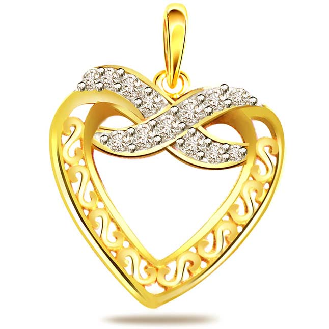 It's My Heart -0.10ct Diamond Heart Shape Gold Pendants