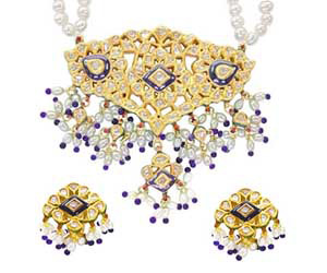 Jadthar Diamond Set with Pearls & Blue Beads -Meenakari Jadtar