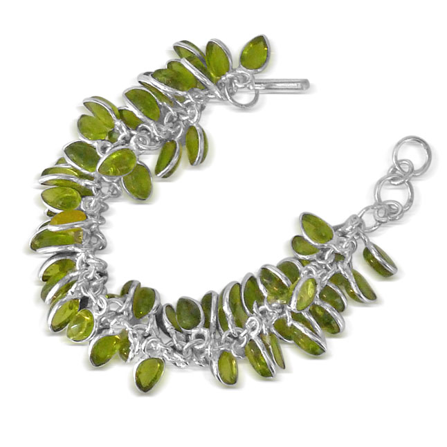 Green Colored Stone & Silver Plated Bracelet -JK23 -Bangles -Bracelets
