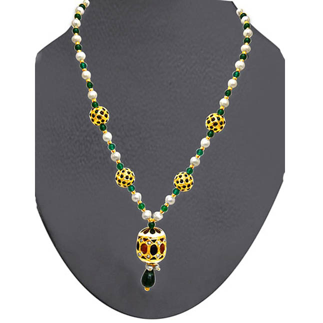 Kundan Beads Necklace -Necklace