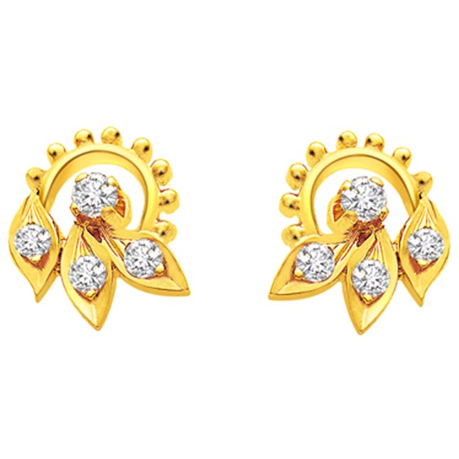 Lavish Leaf Diamond Earrings -Designer Earrings