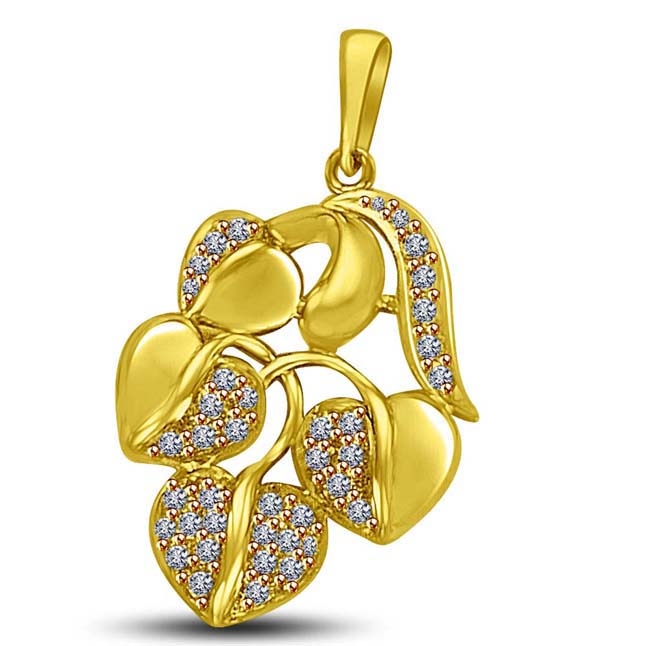 Leaf Shaped Pave Set Gold & Diamond Pendants fot my Love
