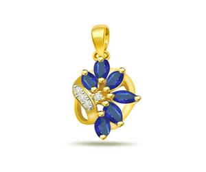 Leafy Sapphire Passion -0.06ct Diamond & Sapphire Pendants