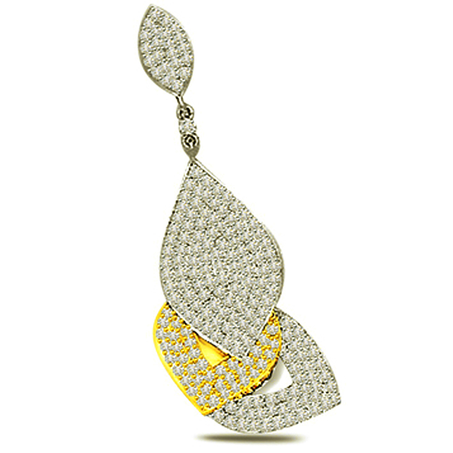 Leaves of Fortune -1.00 cts Diamond Two Tone Pendants