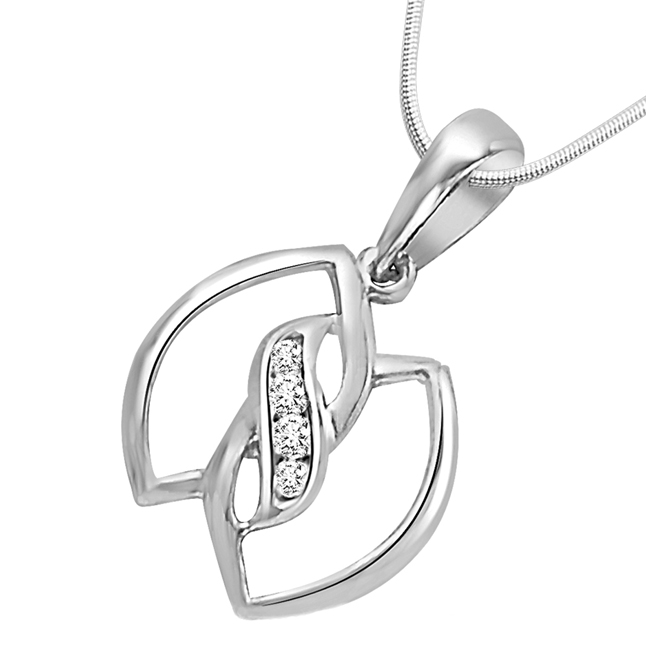 "Leaves of Togetherness -Real Diamond & Sterling Silver Pendants with 18"" Chain"