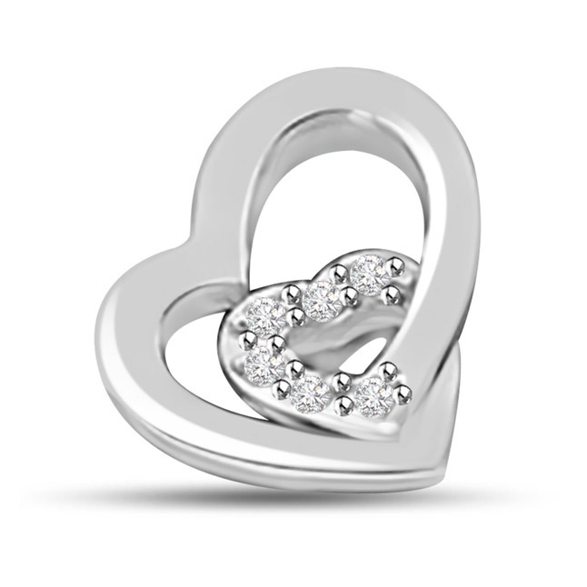 Lets Celebrate our Love 14K Gold Diamond Heart Pendants