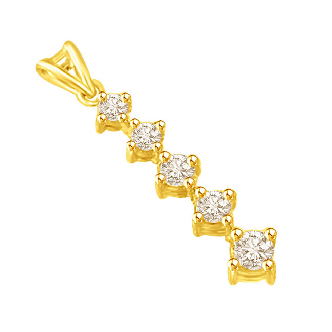 Line of Stars -0.20 TCW Long Pendants encrusted with Round Diamonds -Designer Pendants