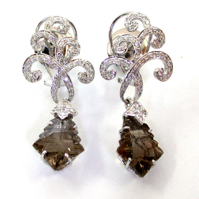 Little Miss Graceful -Smokey Topaz Diamond Earrings