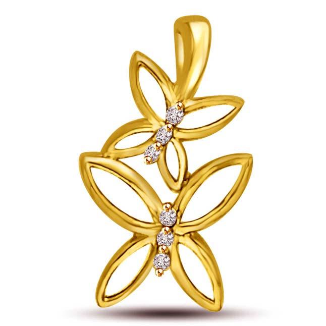 Live Together Butterfly 18k Gold Diamond Pendants -Teenage