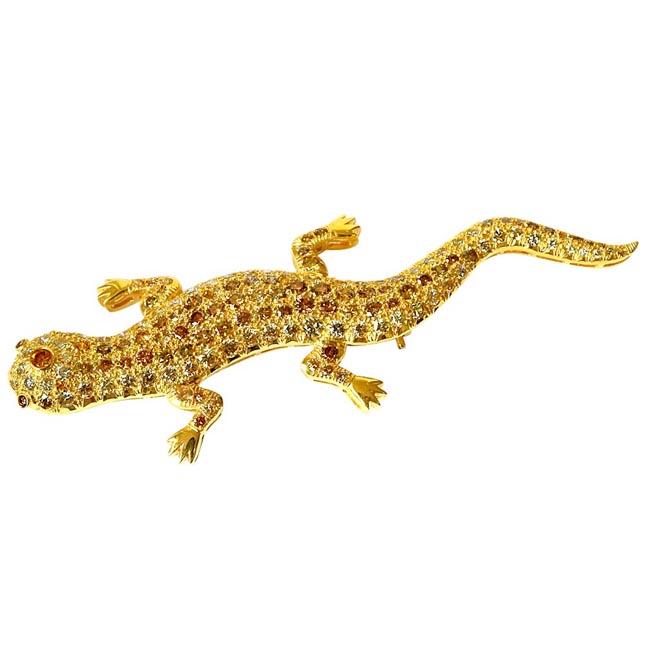 4.00cts Lizard Design Brooch White VS & Fancy Colour Natural Diamonds -Diamond Brooches