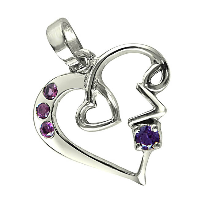 "Loads of Love Purple Amethyst, Pink Rhodolite & Sterling Silver Pendants with 18"" Chain"