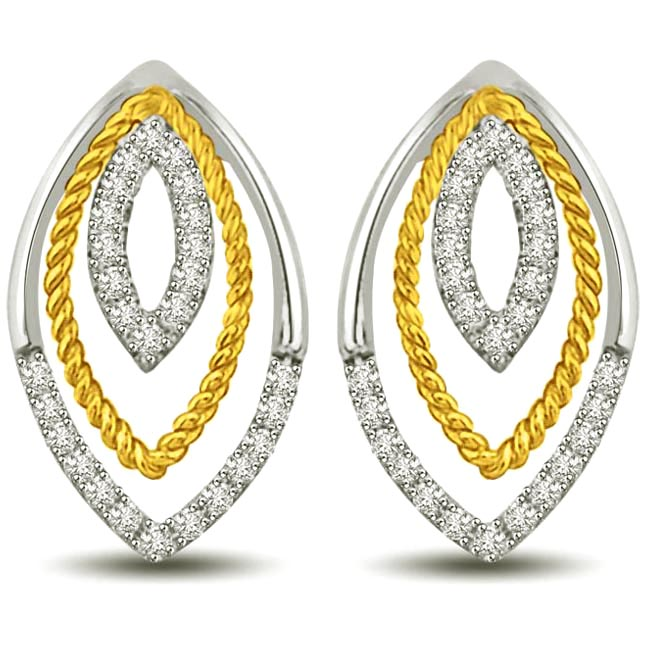 Love & Emotion : Gold & Diamond Earrings for my Love -Two Tone Earrings