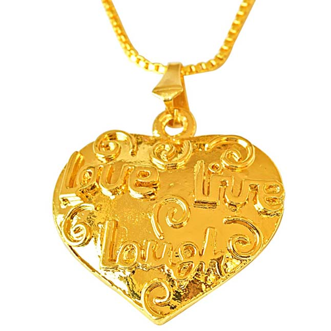 Love, Live, Laugh Heart Shaped Gold Plated Pendants with 22 IN Chain for Your Love