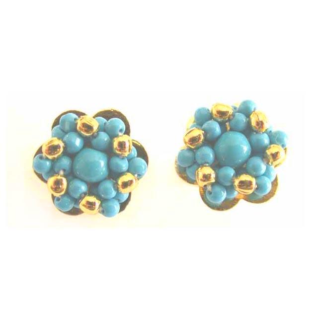 Love Blue Bead Earrings -Pres.Stone Earrings