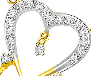 Love Bridge Fancy Heart Shape 18kt Gold VS Diamond Pendants -Designer Pendants
