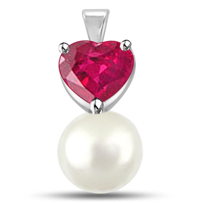 Love C y 0.30TCW Heart Shaped Ruby Pendants With Freshwater Pearl