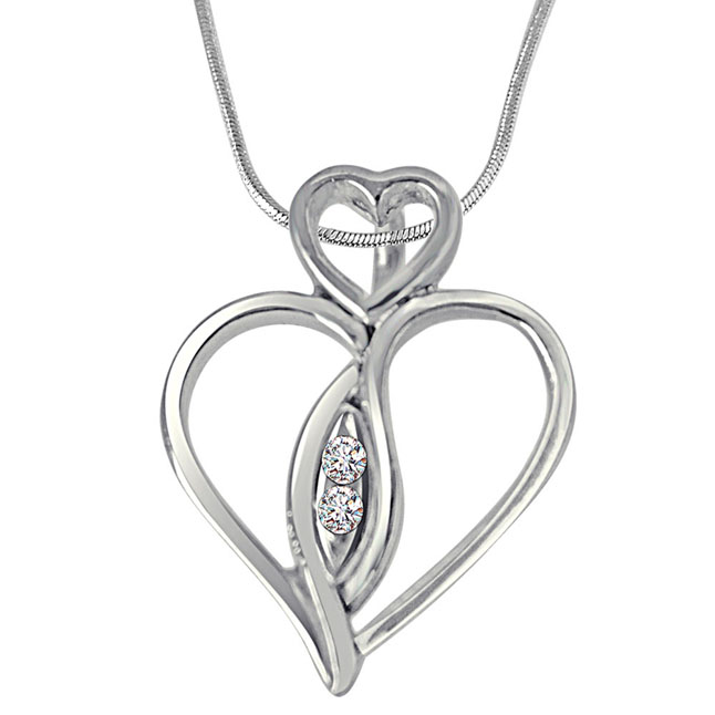 Love From Above - Real Diamond & Sterling Silver Pendant with 18 IN Chain