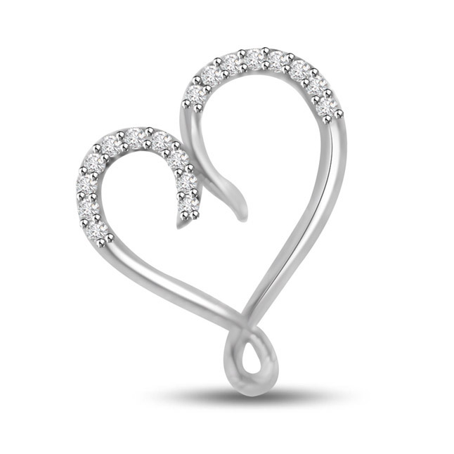 Love is Blind White Gold 14k Diamond Heart Pendants