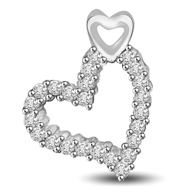 Love is Sublime White Gold Diamond Heart Pendants