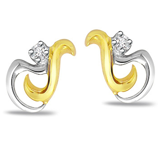 Love Locks Beautiful Diamond Earrings -Two Tone Earrings